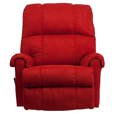 Flash Furniture Contemporary Flatsuede Rock Microfiber Rocker Recliner, Red