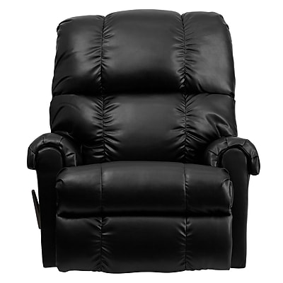 Flash Furniture Contemporary Apache Leather Tufted Rocker Recliner, Black