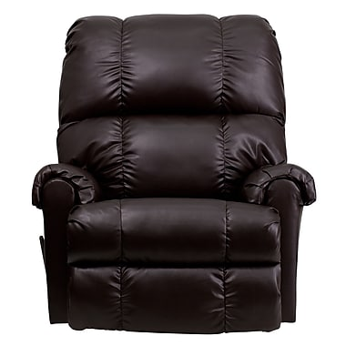 Flash Furniture – Fauteuil berçant contemporain inclinable de série Apache en cuir capitonné, brun