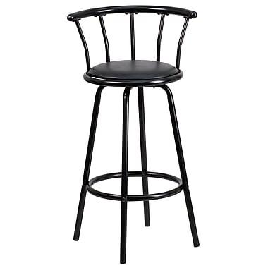 Flash Furniture – Tabouret de bar en vinyle avec dossier couronne, 30 po, noir