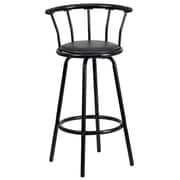 "Flash Furniture 30"" Vinyl Bar Stool With Crown Back, Black"