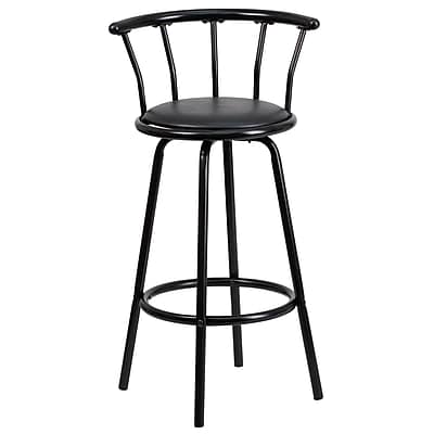 Flash Furniture 30 Vinyl Bar Stool With Crown Back Black Staples