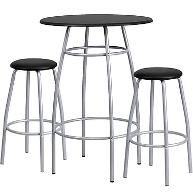 Flash Furniture MDF Bar Height Table and Stool Set, Black