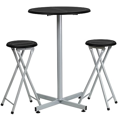 Flash Furniture MDF Bar Height Table and Stool Set With White Stitch Insets, Black/Silver
