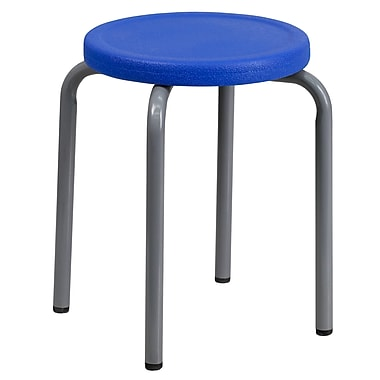 Flash Furniture – Tabouret empilable en plastique sans dossier, 17 po, bleu