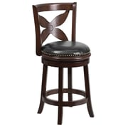 "Flash Furniture 25"" Leather Counter Height Stool With Designer Leaf Back, Black/Cappuccino"