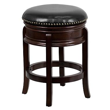 Flash Furniture – Tabouret sans dossier à hauteur de comptoir (25 po) avec siège en cuir épais bordé, noir/cappuccino