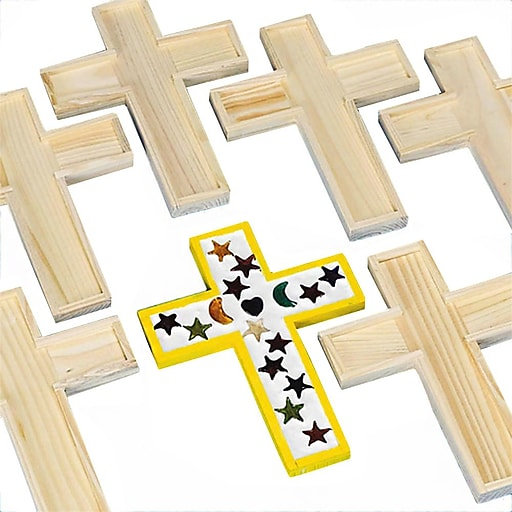 S&S® Unfinished Wooden Cross Tile Trivet, 6/Pack