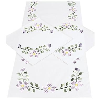 Stamped Dresser Scarf & Doilies Perle Edge, Starflowers
