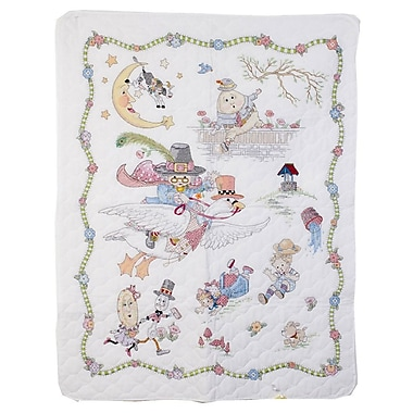 Mary Engelbreit Mother Goose Crib Cover Stamped Cross Stitch Kit, 34