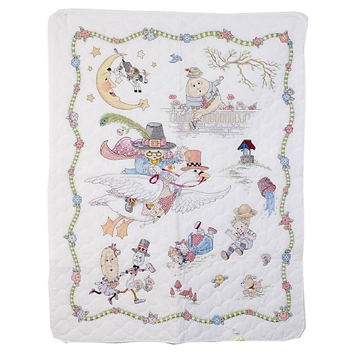 """Mary Engelbreit Mother Goose Crib Cover Stamped Cross Stitch Kit, 34""""X43"""""""