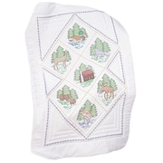 """Stamped White Lap Quilt Top 38""""X58"""", Great Outdoors"""