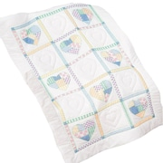 """Stamped White Lap Quilt Top 38""""X58"""", Patchwork Hearts"""