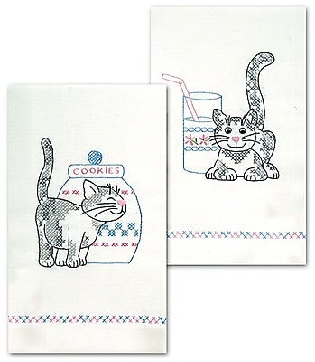Stamped Kitchen Towels For Embroidery, Kittens