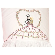 """Stamped Lace Edge Pillowcase 30""""X20"""", Loving Couple"""
