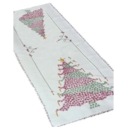 """Stamped Lace Edge Table Runner 15""""X42"""", Christmas Tree"""