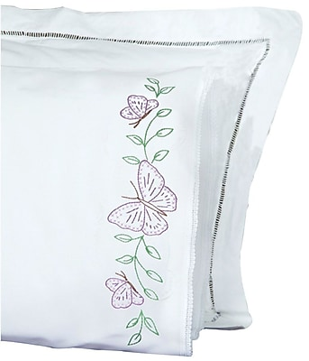 Stamped Pillowcases With White Lace Edge, Butterflies