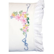 """Stamped Lace Edge Pillowcase 30""""X20"""", Ribbon & Flowers"""