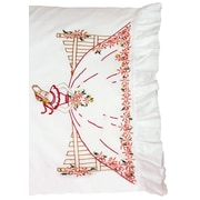 """Stamped Lace Edge Pillowcase 30""""X20"""", Fence Lady"""
