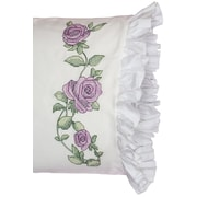 "Stamped Lace Edge Pillowcase 30""X20"", Rose Vine"