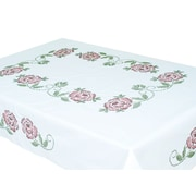 "Stamped White Table Cloth 50""X70"", XX Roses"