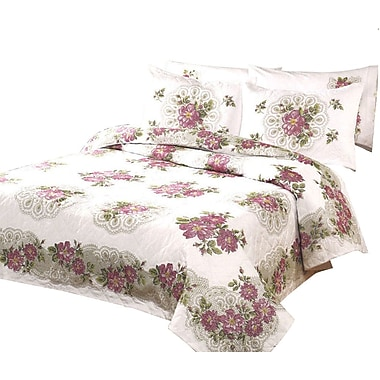 Roses & Lace Fan Quilt Stamped Cross Stitch, 90
