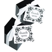 "HBH™ Flourish Frame ""Thank You"" Favor Cards, White/Black"