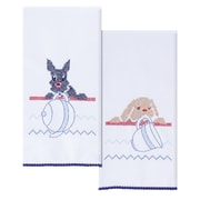 Stamped Kitchen Towels For Embroidery, Dogs