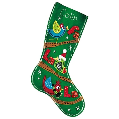 Fa La La Birds Stocking Felt Applique Kit, 19