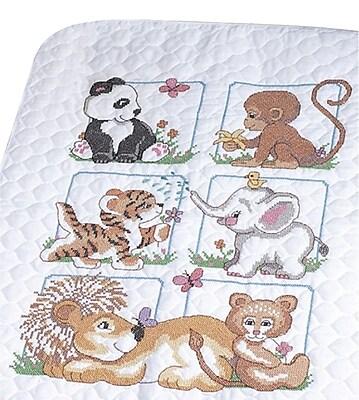Animal Babies Quilt Stamped Cross Stitch Kit, 34