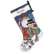 """Santa & Snowman Stocking Counted Cross Stitch Kit, 16"""" Long 14 Count"""