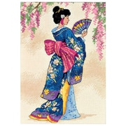 """Gold Collection Petite Elegant Geisha Counted Cross Stitch Kit, 5""""X7"""" 18 Count"""