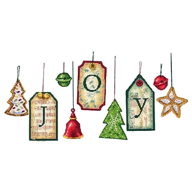 Joy Tag Ornaments Counted Cross Stitch Kit, 5