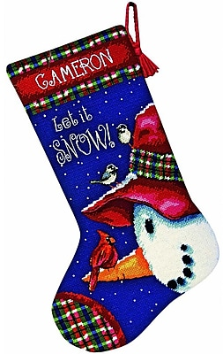"""""Snowman Perch Stocking Needlepoint Kit, 16"""""""" Long Stitched In Wool & Thread"""""" 32225"