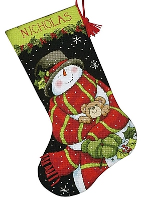 Snowman & Bear Stocking Needlepoint Kit, 16