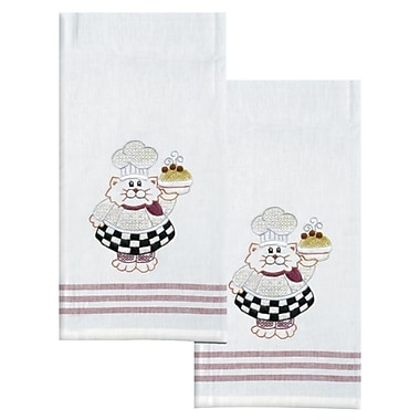 Stamped Kitchen Towels For Embroidery, Cat Chef