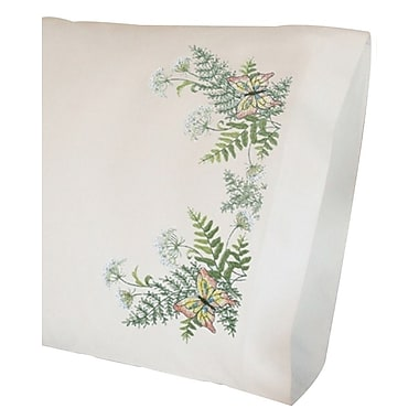 Butterflies And Fern Pillowcase Pair Stamped Cross Stitch Kit, 20