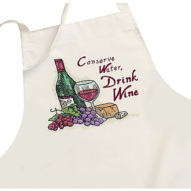 Drink Wine Apron Stamped Cross Stitch