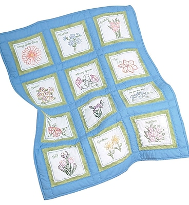 Themed Stamped White Quilt Blocks 9