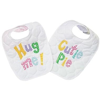 Baby Hugs Cutie Patootie Bibs Stamped Cross Stitch Kit, 8-1/2