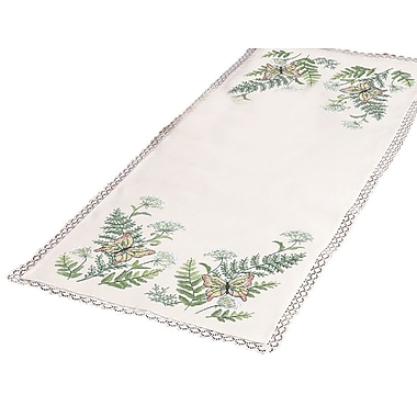 Butterflies And Fern Dresser Scarf Stamped Cross Stitch Kit, 14