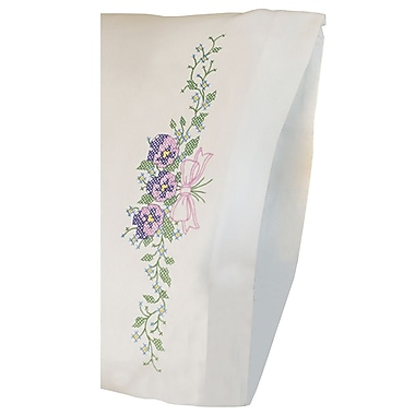 Pansy Trio Pillowcase Pair Stamped Cross Stitch Kit, 20