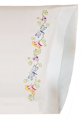 Whimsical Butterflies Pillowcase Pair Stamped Embroidery, 20