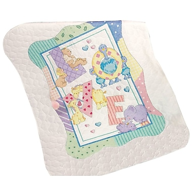 Baby Hugs Zoo Alphabet Quilt Stamped Cross Stitch Kit, 34