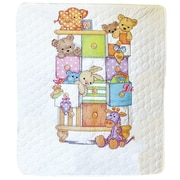 "Baby Hugs Baby Drawers Quilt Stamped Cross Stitch Kit, 34""X43"""