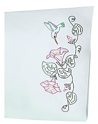 Stamped Pillowcases With White Perle Edge, Hummingbird & Morning Glories