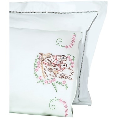 Stamped Pillowcases With White Perle Edge, Mare & Colt