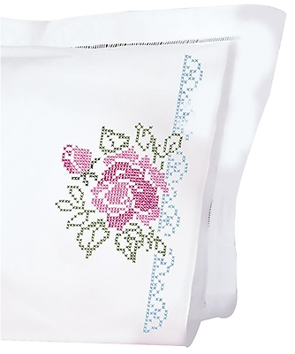 Stamped Pillowcases With White Perle Edge, XX Roses