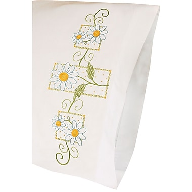 Daisies On Gingham Pillowcase Pair Stamped Cross Stitch, 20