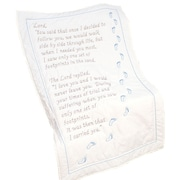 """Stamped White Lap Quilt Top 38""""X58"""", Footprints"""